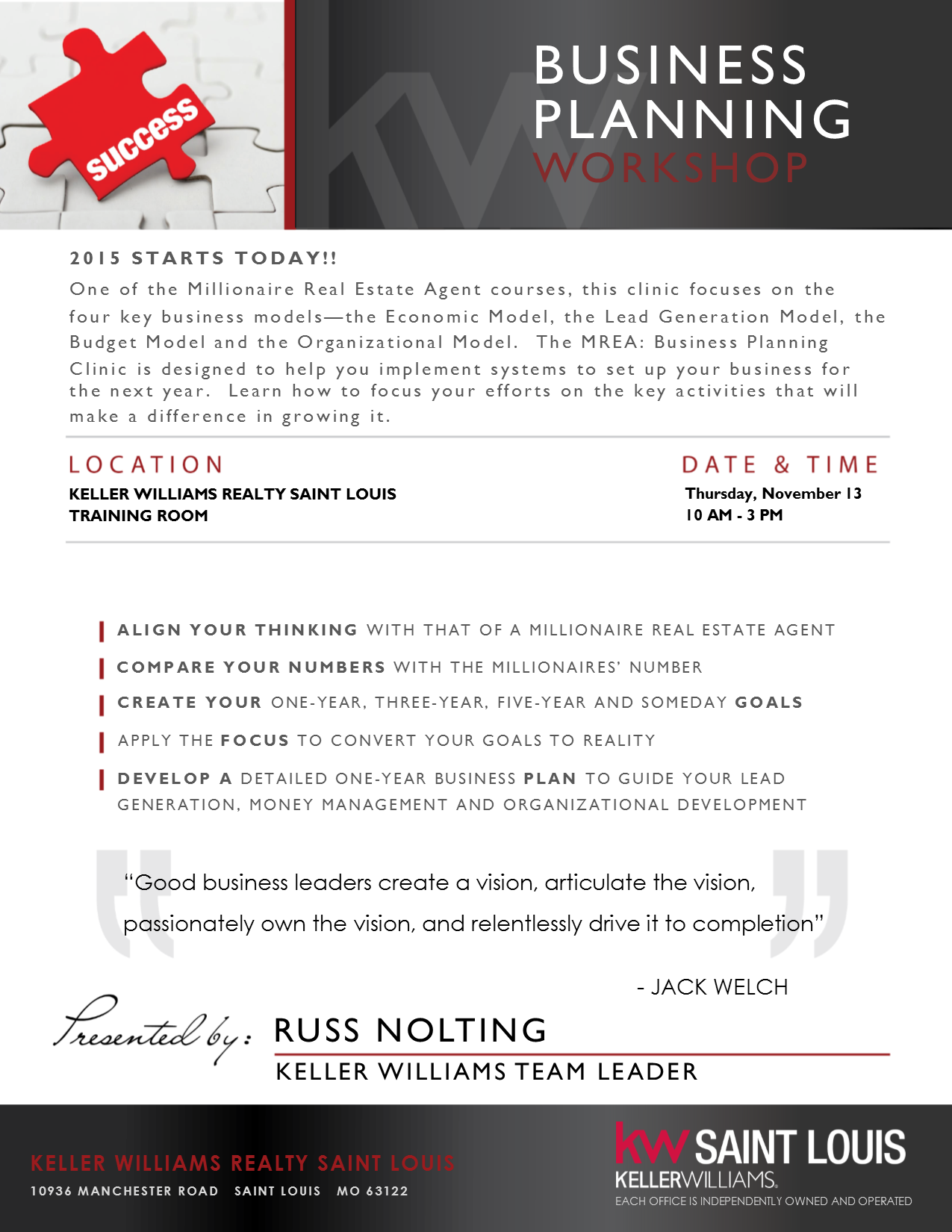 business planning clinic thursday november 13 from 10a to 3p keller williams realty saint louis. Black Bedroom Furniture Sets. Home Design Ideas